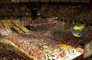 More than 20,000 students and supporters from around the world attended the 33rd annual Odyssey of the Mind World Finals competition last May at Iowa State University. This photo was taken at the closing ceremonies.