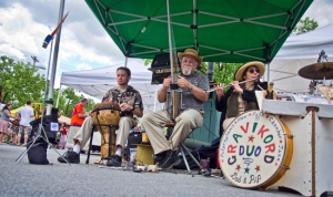 Live music was provided by the Gravikord Duo during the opening day of the Warwick Farmer's Market last Sunday