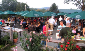 Guests had a choice of outdoor seating on a 4,000 square foot patio or mingling with friends in the huge tent while sampling gourmet dishes and wine.