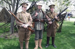 World World One re-enactors John Van Vliet, John Kish and Tom C. Carton use authentic uniforms, weapons and equipment in their efforts to keep the efforts of so many soldiers historically significant.