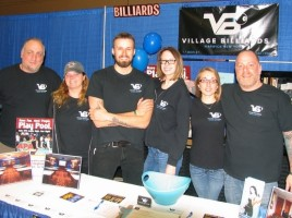The owners and staff of Village Billiards: From left, co-owner Brad Liebow, staff members Michele Johnson, Kit Wade, Amanda Brasier, Manager Sarah Colley and co-ower Adam Powers.