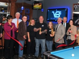 On Wednesday, May 7, Town of Warwick Supervisor Michael Sweeton, Mayor Michael Newhard and members of the Warwick Valley Chamber of Commerce Board of Directors joined owner Adam Powers and members of his staff for the official grand opening of Village Billiards. From left, Warwick Valley Chamber of Commerce past President Paul Rafanello, Chamber President Sherry Bukovcan, Orange County Legislator Barry Cheney, Town of Warwick Supervisor Michael Sweeton, Village Billiards staff member Michele Johnson, owner Adam Powers, Manager Sarah Colley, Mayor Michael Newhard, Chamber Executive director Michael Johndrow, Board member Vikki Garby and Chamber Vice President Doug Stage.