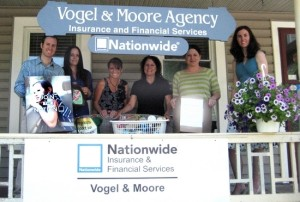 Vogel and Moore Insurance Agency conducts drive for Food Pantry. From left, Life Insurance Advisor Sean Gavan, Sales Advisor Desiree Pappas, Customer Service Advisor Chris Atkinson, Principal Agent/Owner Ann Marie Moore, Office Manager Tara Petzold and Sales Advisor Catherine McClelland.