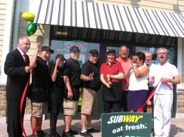 On July 22, Town of Warwick Deputy Supervisor James Gerstner, Mayor Michael Newhard and members of the Warwick Valley Chamber of Commerce joined owner Michele Schiffrin, her family and staff for the official grand opening of her new Subway Sandwich shop in the Fairgrounds Shopping Center at 148 Route 94 South in Warwick.