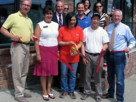 On July 9, public officials and members of the Warwick Valley Chamberjoined John and Mina Cheng to celebrate the 25th anniversary of their Chinese restaurant at the same location. Front from left, Mayor Michael Newhard, Warwick Valley Chamber of Commerce President Sherry Bukovcan, owners Mina and John Cheng and Chamber Executive Director Michael Johndrow. Rear from left, Town of Warwick Justice Peter Barlet, longtime customer Rose Marie Esposito, Chamber past President Garrett Durland, building owner Eglie Antoniades and Chamber Board member Vikki Garby.