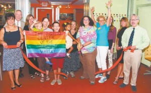 From left, Sherry Bukovcan, president of the Warwick Valley Chamber of Commerce, Chamber Executive Director Michael Johndrow, Karen Thomas, Executive Director of the Warwick Valley Community Center, Jennifer Marsh-Colby with sons Jake, 3 and Anthony, 12; Ann Sinisi holding Mya Joy Barbara, LGBTQ Center President Danielle Barbour, Barbara Draimin, Theresa Sparks, Chamber First Vice President Mechelle Casciotta and Mayor Michael Newhard.