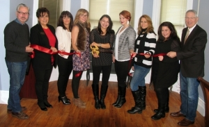 On Dec. 4, Mayor Michael Newhard and members of the Warwick Valley Chamber of Commerce joined owner Laura Mignone and members of her team for a ribbon-cutting ceremony to celebrate the recent expansion and second anniversary of Capelli Salon and Spa Boutique. From left: Mayor Newhard; Sherry Bukovcan, president of the Warwick Valley Chamber of Commerce; Ann Marie Carpiniello salon coordinator; Allison Clark stylist/colorist; owner Laura Mignone, salon stylist/colorist; Kate McBride, stylist/colorist; Sylvia Cappelli, makeup artist; Melissa Conklin, esthetician; and Chamber Executive Director Michael Johndrow. Not present for the photo: Serena Mignone, assistant and Mary Elizabeth, massage therapist.