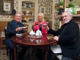 Sharing a spot of tea while finalizing plans for the Warwick Valley Chamber of Commerce March 26 CharlotteþÄôs Tea Room springtime business mixer are from left, Warwick Valley Chamber of Commerce Executive Director Michael Johndrow and Board Members Janine Dethmers and John Redman.