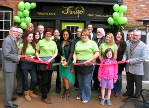 On Friday, April 10, Town of Warwick Supervisor Michael Sweeton (far left), Mayor Michael Newhard (far right) and members of the Warwick Valley Chamber of Commerce joined owner Frances Bachmann (center) and her staff for the grand opening of Friyo Yogurt Cafe and Fine Chocolates at 26 Railroad Ave.