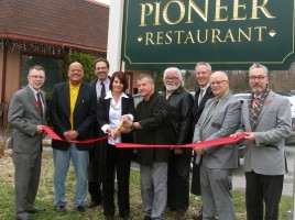 On April 10, public officials and chamber representatives joined owners Paul and Cheryl Karas to celebrate the 10th anniversary of The Pioneer Restaurant at 49 Oakland Ave. From left, Town of Warwick Supervisor Michael Sweeton, Warwick Valley Chamber of Commerce Board members Wayne Patterson and Garrett Durland, owners Cheryl and Paul Karas, Chamber Board member Tom Roberts, Executive Director Michael Johndrow, President Doug Stage and Mayor Michael Newhard.