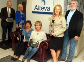 Alteva, a leading edge voice, video and broadband provider, will host a Warwick Valley Chamber of Commerce after-hours springtime business mixer next Thursday evening, April 30, from 5:30 to 7:30 p.m. From left, Chamber of Commerce Executive Director Michael Johndrow, event chair Janine Dethmers, Alteva Account managers Judy Walter and Denise Gioe, product manager Jean Beattie and event co-chair John Redman.