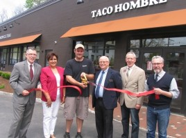 Photo by Roger Gavan From left, Town of Warwick Supervisor Michael Sweeton, Warwick Valley Chamber of Commerce past President Sherry Bukovcan, Taco Hombre co-owner Chad Wieber, Chamber President Doug Stage, Executive Director Michael Johndrow and Mayor Michael Newhard. Co-owner Bo Kennedy was not present for the photograph.