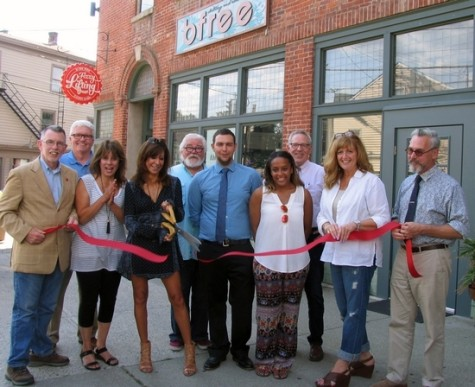 The grand opening of bfree on Aug. 14: From left, Town of Warwick Supervisor Michael Sweeton, Deputy Mayor Barry Cheney, Suzanne Pegg, bfree owner Cecelia Cantelmo, Tom Roberts, president of the Merchant Guild, staff member Troy Demmert, saleswoman Alexis Milburn, Michael Johndrow, executive director of the Warwick Valley Chamber of Commerce, board member Karen Burke and Mayor Michael Newhard.