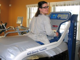 Photo by Roger Gavan Physical Therapist Assistant Michaela Hess, who demonstrated the Alter G Anti-Gravity Treadmill, added that it's easy and fun to use.