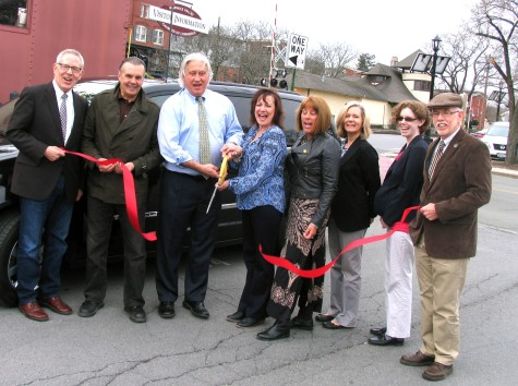 Photo by Roger Gavan On Wednesday, March 23, Town of Warwick Supervisor Michael Sweeton and members of the Warwick Valley Chamber of Commerce joined owners Michael and Linda Punch and their public relations consultant Peter Hall to celebrate the success of Warwick Valley Car Service with a ribbon cutting ceremony. From left, Chamber Executive Director Michael Johndrow, public relations consultant Peter Hall, owners Michael and Linda Punch, Chamber President Mechelle Casciotta, board members Kim Starks and Elizabeth Cassidy and Town of Warwick Supervisor Michael Sweeton.