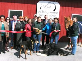 Photo by Roger Gavan On Monday, May 16, members of the Warwick Valley Chamber of Commerce joined farm owners and members of the Amity Foundation Board of Directors for a ribbon cutting ceremony to kick off a year-long fund-raising drive.