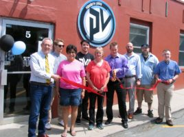Photo by Roger Gavan On May 26, Town of Warwick Supervisor Michael Sweeton (far right), Warwick Valley Chamber of Commerce Executive Director Michale Johndrow and past President Sherry Bukovcan (far left) joined Priority Vape owner Ryan Hallisey (center), his mother Deborah Hallisey and his staff for a ribbon-cutting ceremony to celebrate Priority Vape's name change and anniversary.