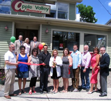 Photo by Roger Gavan On June 22, Town of Warwick Supervisor Michael Sweeton, Mayor Michael Newhard and members of the Warwick Valley Chamber of Commerce joined Doctor of Pharmacy Ann Marie Cloutier and her staff to celebrate Apple Valley Pharmacy's new location at 8 West St. in the Village of Warwick.
