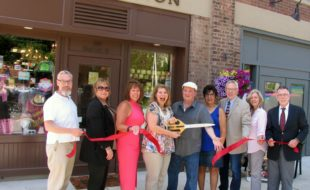 Photo by Roger Gavan On Wednesday, June 22, town and village officials members of the Warwick Valley Chamber of Commerce joined Annette and Jim DiZenzo for the official grand opening of The Junction. From left, Mayor Michael Newhard, Chamber Board member Taylor Sterling, Chamber President Mechelle Casciotta, owners Annette and Jim DiZenzo, Chamber past president Sherry Bukovcan, Michael Johndrow, executive director of the Warwick Valley Chamber of Commerce, Chamber Board member Kim Starks and Town of Warwick Supervisor Michael Sweeton.