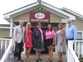 """Photo by Roger Gavan Gathered at the front entrance of URJ Kutz Camp for The Warwick Valley Chamber of Commerce Aug. 31 '""""Endless Summer Business Mixer"""" are, from left: Warwick Valley Chamber of Commerce Executive Director Michael Johndrow, Event Chair Janine Dethmers, Kutz Camp Director Melissa Frey, Retreats On-Site Coordinator Joanna Falk, Warwick Valley Chamber of Commerce President Mechelle Casciotta and Vice President John Redman."""
