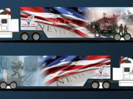 """Photo courtesy of the """"9/11 Never Forget"""" mobile exhibit website The Warwick Valley School District will host the """"9/11 Never Forget"""" mobile exhibit on Wednesday and Thursday, Sept, 28 and 29. The exhibit is a high-tech, 53-foot tractor- trailer which unfolds into a 1,000-square-foot exhibit, and serves as a poignant reminder of that tragic day."""