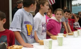 Photos by Louise Hutchison The kids participating in the Applefest youth Pie Eating Contest a few minutes before the start.