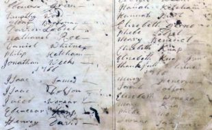 Image courtesy of the Warwick Historical Society The first list of Warwick's Baptist Church members, 1765.